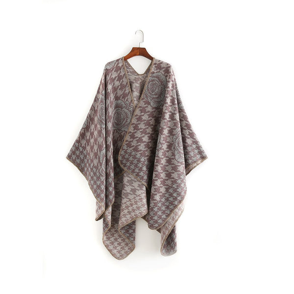 PMS Scarfs Gray / one size Golden Silk Flower Pattern Large Imitation Cashmere Scarf Shawl