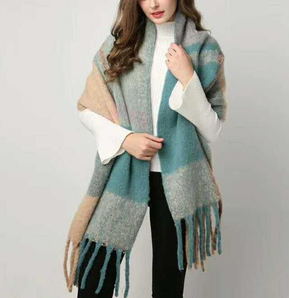 PMS Scarfs Green / one size Fashion casual   Imitation cashmere Plaid  scarf  Tassels Knitted scarf