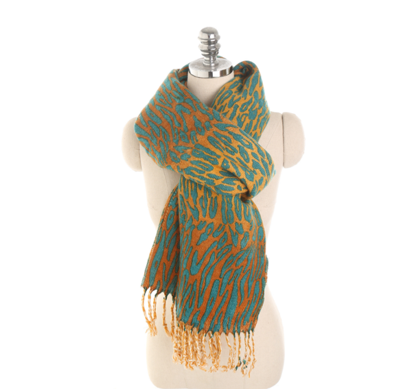 PMS Scarfs Green / one size Multi-Color Leopard 3D Imitation Cashmere Warm Tassel Scarf
