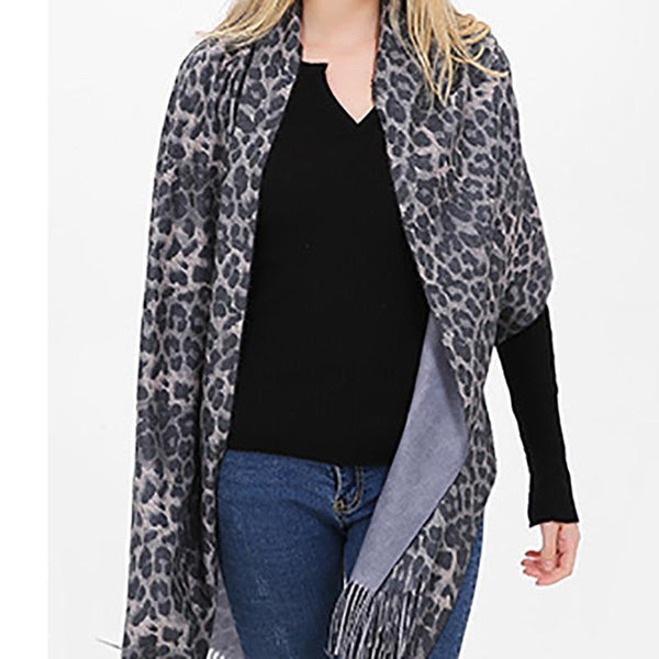 PMS Scarfs Light Gray / one size Autumn And Winter Leopard Warm Thicken Ladies Scarf Shawl