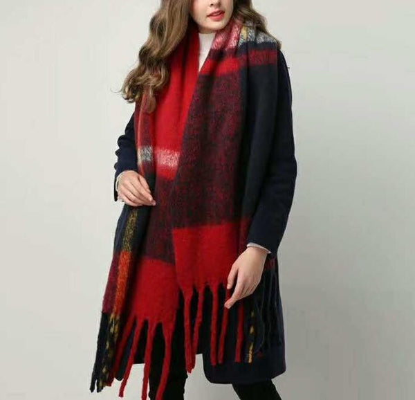 PMS Scarfs Red / one size Fashion casual   Imitation cashmere Plaid  scarf  Tassels Knitted scarf
