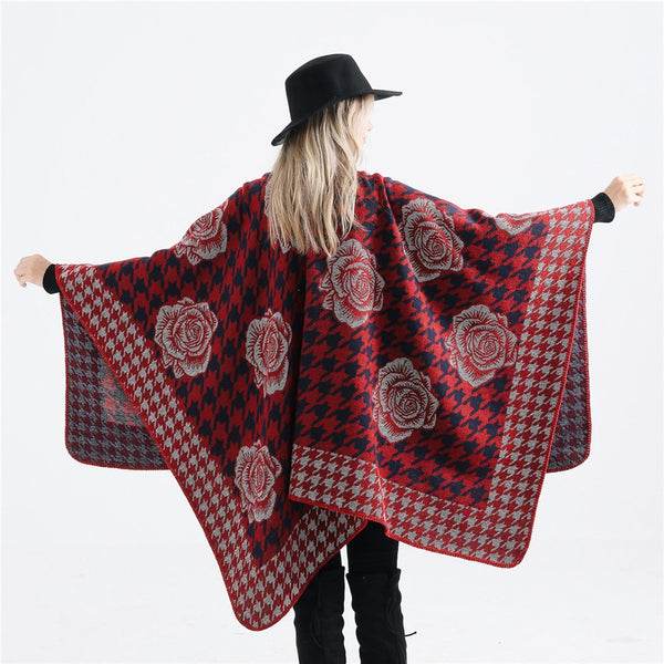 PMS Scarfs Red / one size Golden Silk Flower Pattern Large Imitation Cashmere Scarf Shawl