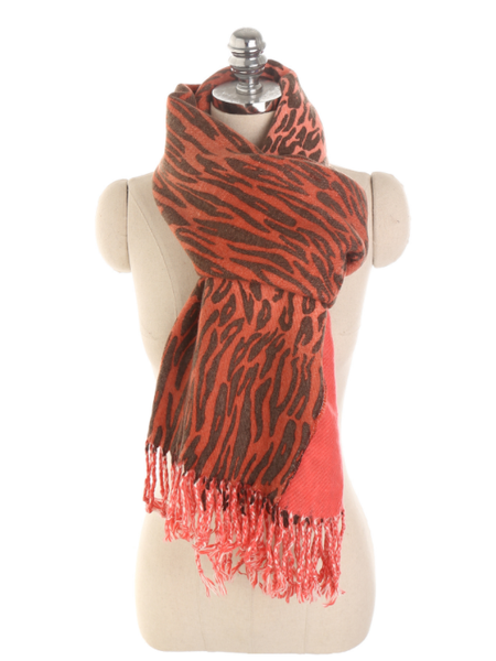 PMS Scarfs Red / one size Multi-Color Leopard 3D Imitation Cashmere Warm Tassel Scarf