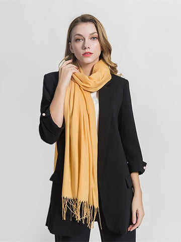 PMS Scarfs Yellow / one size Cashmere Tassels And Warm Scarves