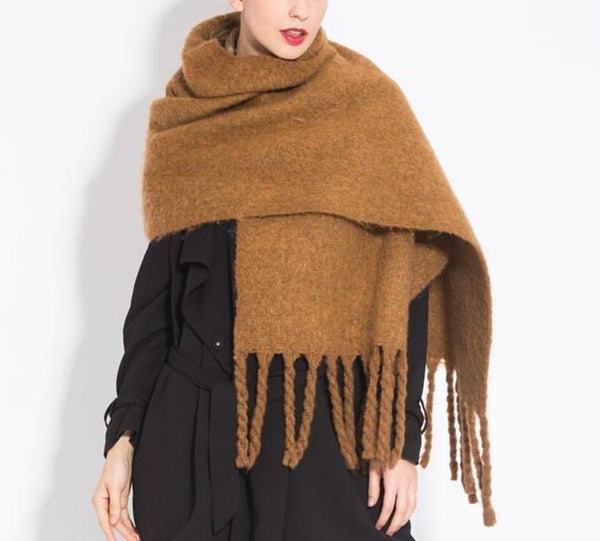 PMS Scarfs Yellow / one size Fashion casual   Imitation cashmere Plaid  scarf  Tassels Knitted scarf