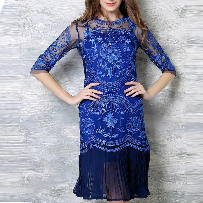 PMS Shift Dresses blue / 2xl Lace Embroidery Shift Dress