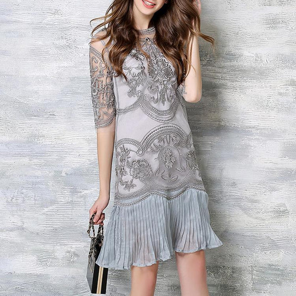 PMS Shift Dresses gray / 2xl Lace Embroidery Shift Dress