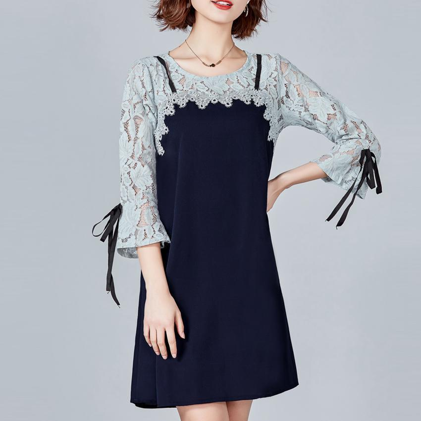 PMS Shift Dresses royal_blue / 5xl Lace Stitching Elegant Casual Shift Dress
