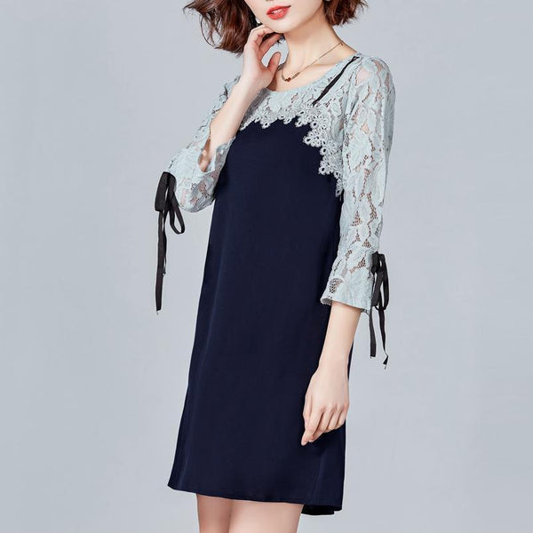 PMS Shift Dresses royal_blue / m Lace Stitching Elegant Casual Shift Dress