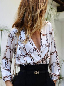 PMS Shirt Same As Photo / s Fashion V Collar   Long-Sleeved Print Shirt