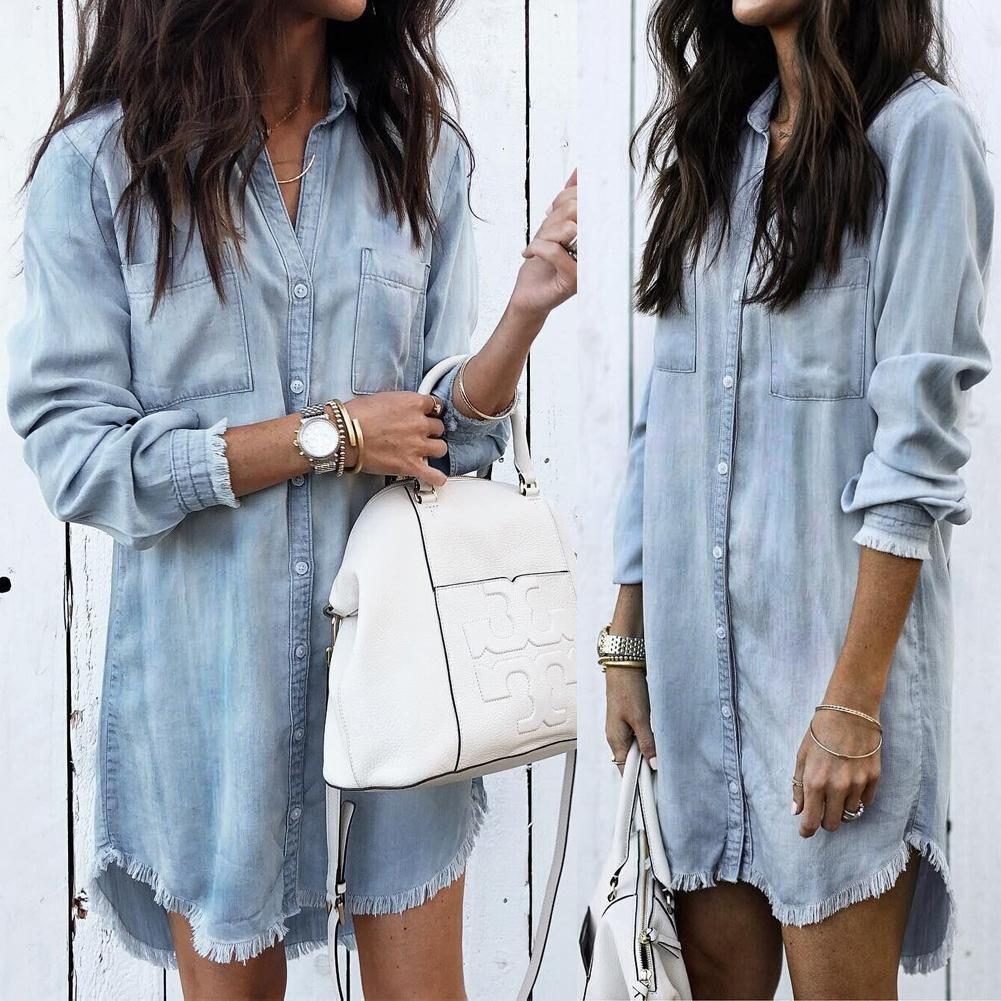 PMS Shirtdresses Light Blue / s Asymmetric Hem Long Sleeve Casual Dresses