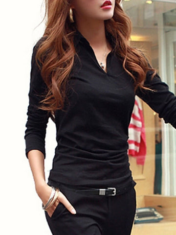 PMS Shirts & Blouses black / s Autumn Spring  Cotton  Women  Turn Down Collar  Plain Long Sleeve T-Shirts