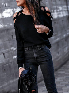 PMS Shirts & Blouses black / s Round Neck  Hollow Out Plain T-Shirts