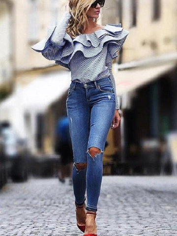 PMS Shirts & Blouses Blue / s A Long-Sleeved Shirt With Ruffled Edge And Bare Shoulders