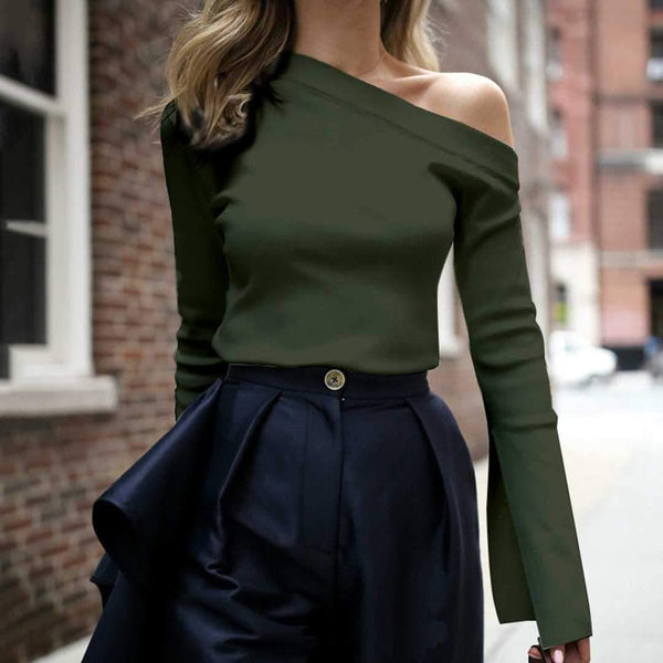 PMS Shirts & Blouses Green / s Fashion Pure Color Single Shoulder Long-Sleeved Shirt Top