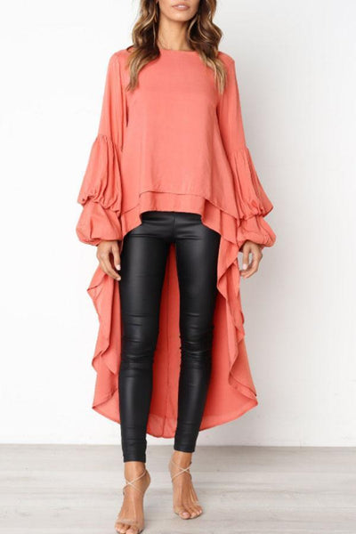 PMS Shirts & Blouses orange_red / s Round Neck  Asymmetric Hem  Plain  Lantern Sleeve  Blouses