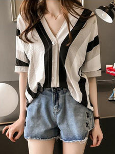 PMS Shirts & Blouses Same As Photo / one size V-Neck Comfort Stripe Back Blouse