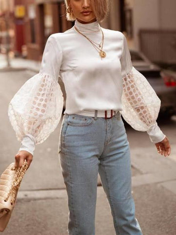 PMS Shirts & Blouses White / s Autumn And Winter   Fashion Pure Color Lace Bubble Sleeves Top