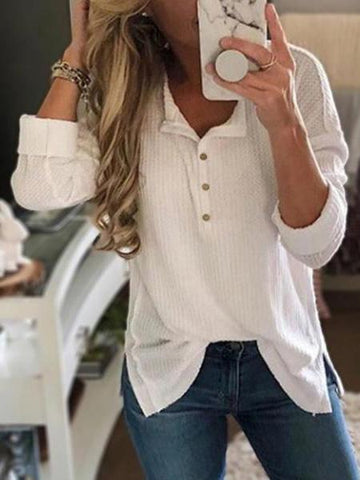 PMS Shirts & Blouses white / s Casual Long Sleeve Stand Collar Button Split T-Shirt