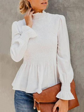 PMS Shirts & Blouses white / s High Neck  Plain  Bell Sleeve  Blouses