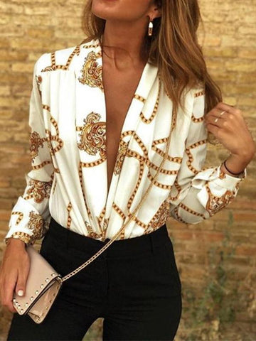 PMS Shirts & Blouses White / s Sexy Deep V Print   Long-Sleeved Fashion Shirt