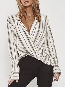 PMS Shirts & Blouses white / s Sexy V Neck Stripe Printed Irregular Loose Blouse