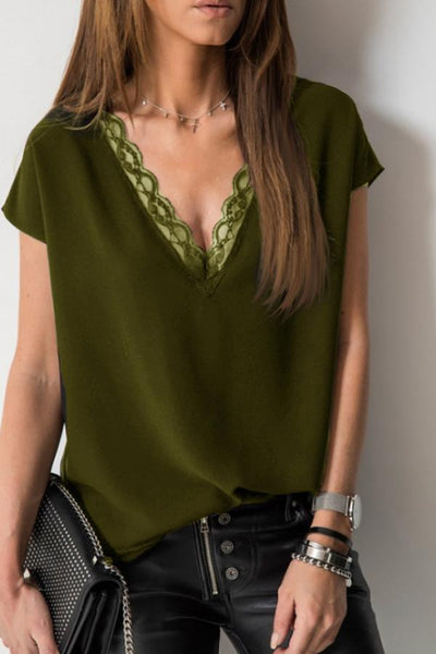 PMS Short Sleeve Blouses Army Green / s V Neck  Decorative Lace  Plain  Blouses