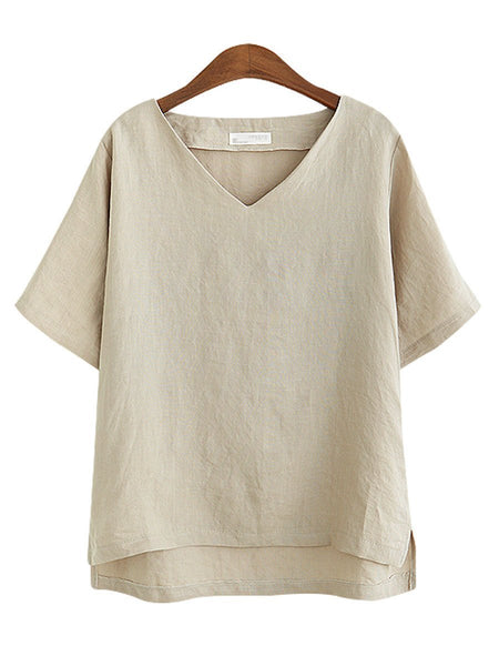PMS Short Sleeve Blouses Champagne / 3xl Summer Linen Women V-Neck Plain Short Sleeve Blouses