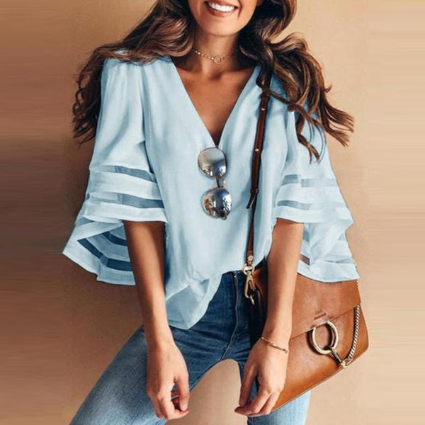 PMS Short Sleeve Blouses Light Blue / s Polyester  Women  V-Neck  Plain  Three-Quarter Sleeve Blouses
