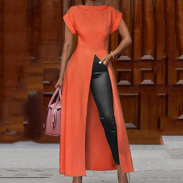 PMS Short Sleeve Blouses Orange / s Fashion Round Neck Short Sleeve High Slit Zipper Solid Color Sexy Blouse