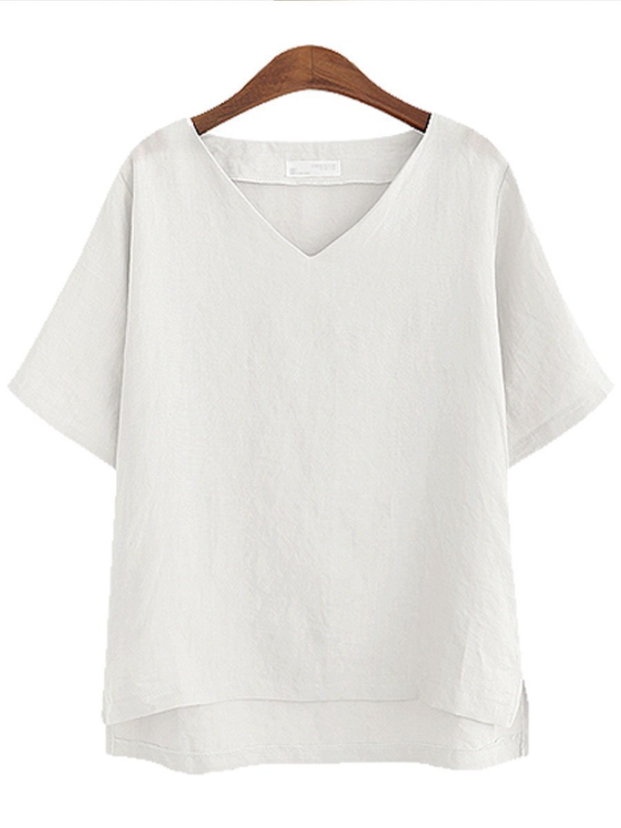 PMS Short Sleeve Blouses White / 3xl Summer Linen Women V-Neck Plain Short Sleeve Blouses