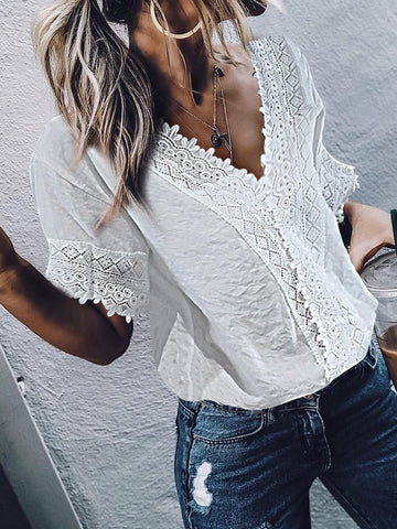 PMS Short Sleeve Blouses White / s Casual V-Neck Short Sleeves Lace Top