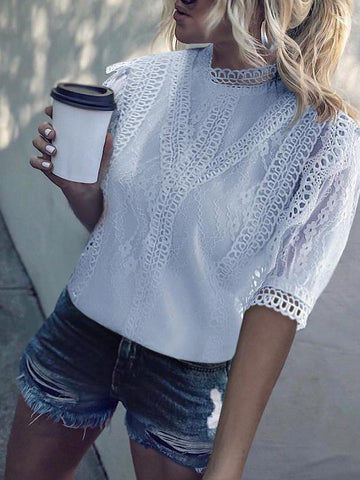 PMS Short Sleeve Blouses White / s Classy Short Sleeve Splicing Lacework Pure Colour Blouse