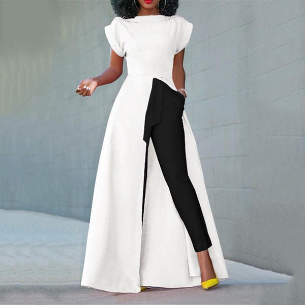 PMS Short Sleeve Blouses White / s Fashion Round Neck Short Sleeve High Slit Zipper Solid Color Sexy Blouse