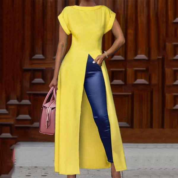PMS Short Sleeve Blouses Yellow / s Fashion Round Neck Short Sleeve High Slit Zipper Solid Color Sexy Blouse