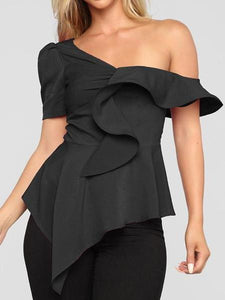 PMS Short Sleeve Shirts Black / s Sexy Sloping Shoulder Pure Colour Irregular Shirt