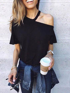 PMS Short Sleeve T-Shirts Black / s Sexy One Shoulder Plain Loose T-Shirts
