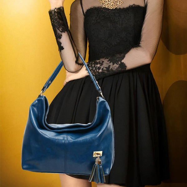 PMS Shoulder Bags Blue / one size New Fashion Retro Portable Tassel Bucket Shoulder Bag Female
