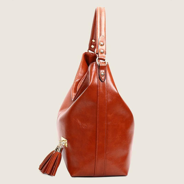 PMS Shoulder Bags Brown / one size New Fashion Retro Portable Tassel Bucket Shoulder Bag Female