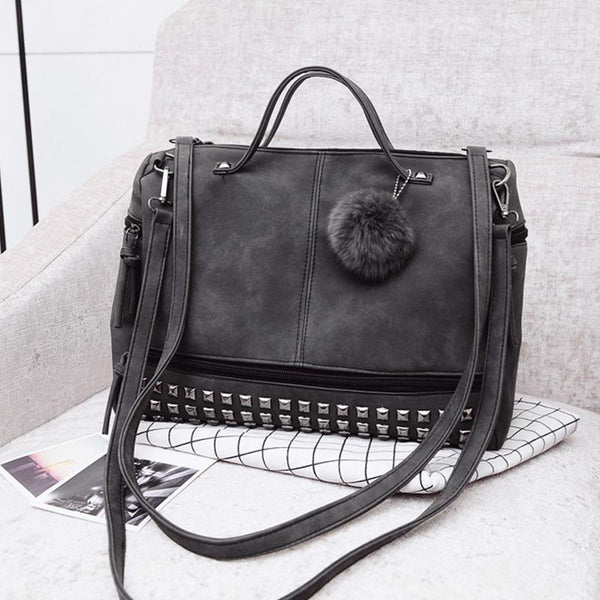 PMS Shoulder Bags Gray / one size Autumn New Fashion Matte Leather Locomotive Big Bag Rivet Shoulder Bag