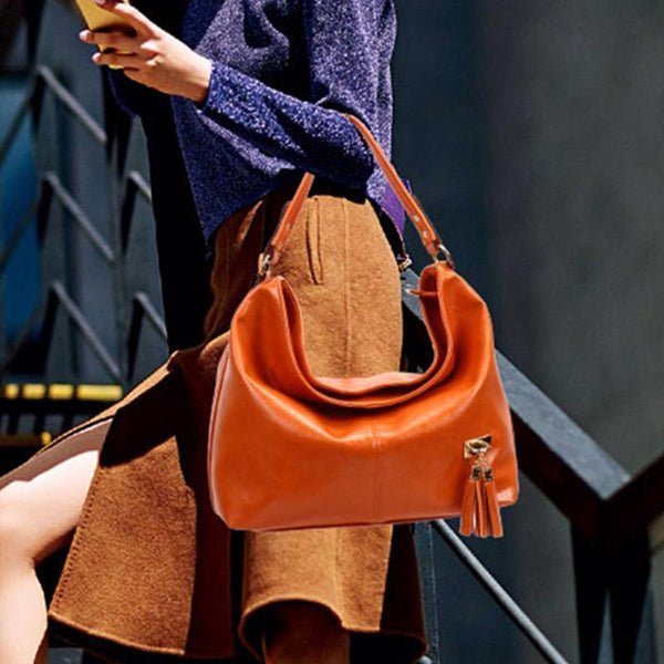 PMS Shoulder Bags Orange / one size New Fashion Retro Portable Tassel Bucket Shoulder Bag Female