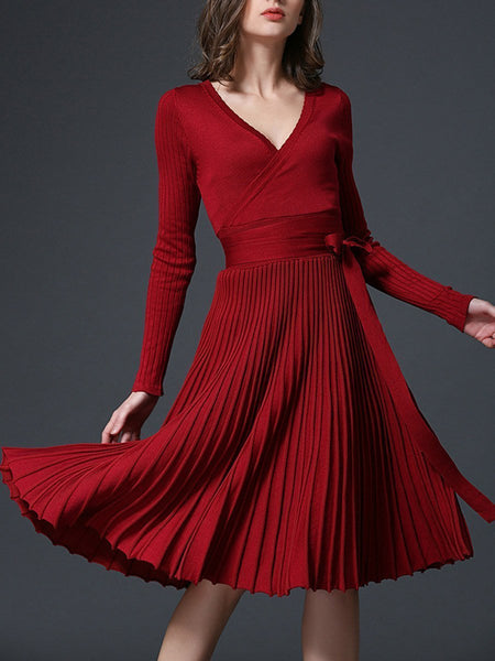 PMS Skater Dress claret_red / one size Sexy V-Neck Solid Pleated Knitted Skater Dress