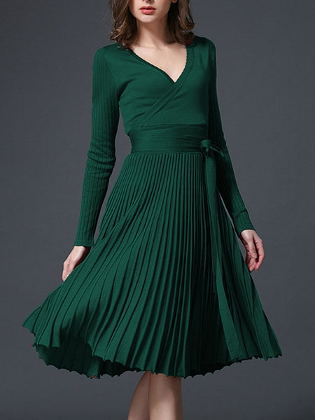 PMS Skater Dress green / one size Sexy V-Neck Solid Pleated Knitted Skater Dress