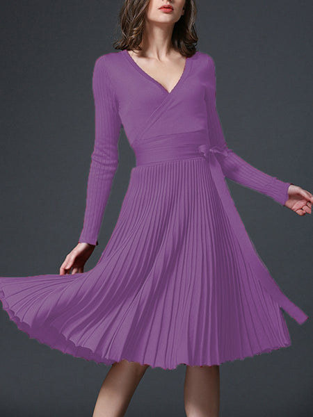 PMS Skater Dress lavender / one size Sexy V-Neck Solid Pleated Knitted Skater Dress