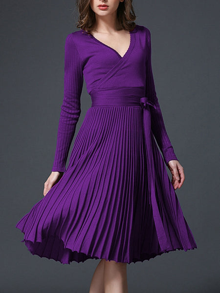 PMS Skater Dress purple / one size Sexy V-Neck Solid Pleated Knitted Skater Dress