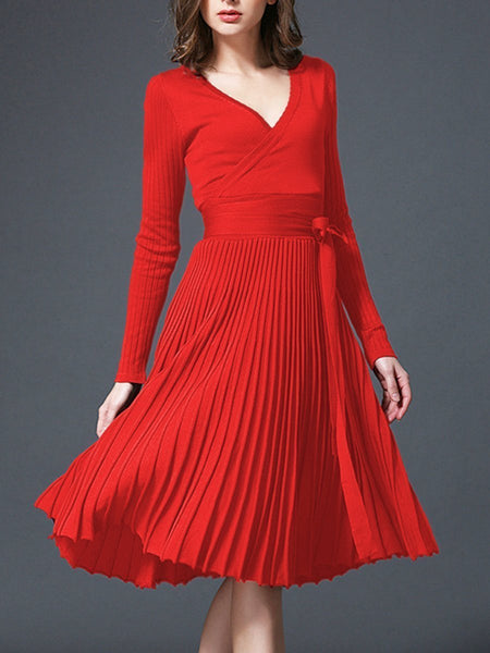 PMS Skater Dress red / one size Sexy V-Neck Solid Pleated Knitted Skater Dress