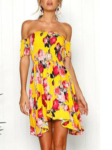 PMS Skater Dress yellow / s Sexy Yellow Off Shoulder Floral Print Skater Dress