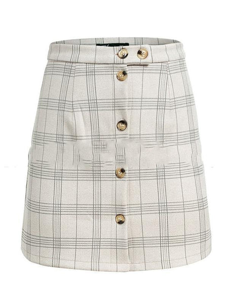 PMS Skirts beige / s Plaid High Waist Single-Breasted Short Skirt