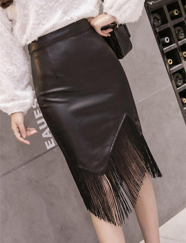 PMS Skirts black / s Fashion PU Tassel Wrapped Hip Skirt