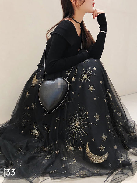 PMS Skirts Black / s Fashion Stars Pattern Gauze Long Skirt